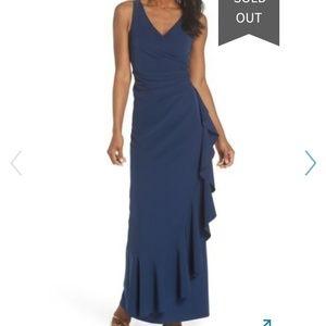 Vince Camuto Faux Wrap Crepe Gown Blue Plus 14